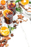 Bebidas do alimento do Natal Ingredientes Mulled do vinho Foto de Stock Royalty Free