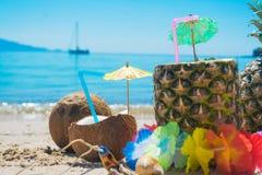 Bebidas do coco e do abacaxi pelo mar Imagem de Stock