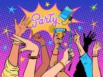 Bebidas do selfie da dança do partido ilustração royalty free