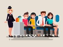 Bebidas do serviço do aeromoço aos passageiros ilustração royalty free