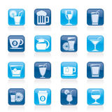 Bebidas e ícones das bebidas Fotografia de Stock