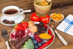 Bebidas e alimento do antioxidante Fotografia de Stock