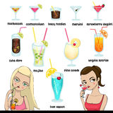 Bebidas e coctails Ilustração do Vetor