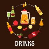 Bebidas e composição lisa das bebidas Fotografia de Stock Royalty Free