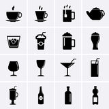 Bebidas e ícones das bebidas Foto de Stock Royalty Free
