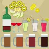 Bebidas e frutos Imagem de Stock