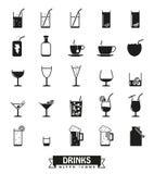 Bebidas e grupo do vetor dos ícones do glyph das bebidas Fotografia de Stock Royalty Free