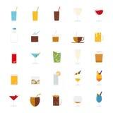 Bebidas e grupo isolados do vetor dos ícones das bebidas Fotografia de Stock