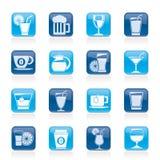 Bebidas e iconos de las bebidas Fotografía de archivo