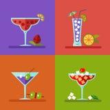 Bebidas e iconos de los cócteles Fotografía de archivo