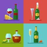 Bebidas e iconos de los cócteles Imágenes de archivo libres de regalías