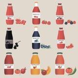 Bebidas e projeto da imagem da coleção dos frutos Fotos de Stock Royalty Free