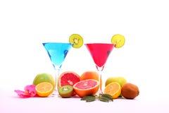 Bebidas exóticas en el vidrio de martini Foto de archivo libre de regalías