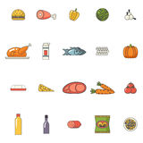 Bebidas fijadas iconos de las verduras de los pescados de la carne de la comida para Fotografía de archivo