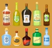 Bebidas fortes do álcool em vidros dos desenhos animados das garrafas ilustração stock