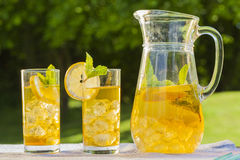 Bebidas frías del verano en jardín Imágenes de archivo libres de regalías