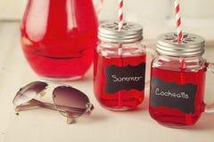 Bebidas frescas do cocktail do verão em uns frascos de pedreiro Imagens de Stock