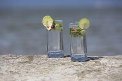Bebidas na costa Fotografia de Stock