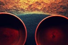 Bebidas quentes cerâmicas chinesas vermelhas do copo de chá Foto de Stock