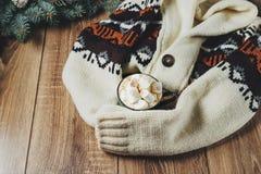 Bebidas quentes do outono e do inverno Ideias para o Natal, ação de graças, Dia das Bruxas Copo com cappuccino picante quente, co Imagem de Stock Royalty Free