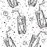 Bebidas y fondo inconsútil de las bebidas Fotografía de archivo libre de regalías