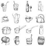 Bebidas y vajilla Ilustración del Vector