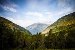 Beboste valleien tussen de bergen andorra stock foto