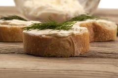 Beboterd omhoog gesloten brood Stock Fotografie