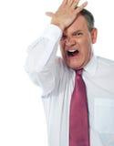 Bebouwd beeld van een gestoorde zakenman Royalty-vrije Stock Afbeelding