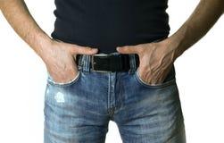 Bebouwd beeld van een mens in jeans op witte achtergrond royalty-vrije stock fotografie