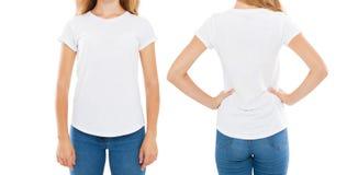 Bebouwd beeld van vrouw in modieuze die t-shirt op witte achtergrond, spatie, exemplaarruimte wordt geïsoleerd royalty-vrije stock afbeeldingen