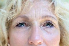 Bebouwd gezichtsportret van aantrekkelijke hogere vrouw stock foto