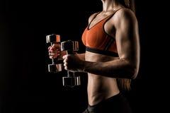Bebouwd schot van spier jonge sportvrouw die met domoren uitoefenen stock foto's