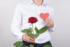 Bebouwde dichte omhooggaande portretfoto van knappe charmante oprechte heer die heldere grote grote bloem met tedere zacht houden stock afbeelding