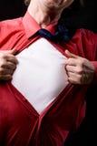 Bebouwde mening van de gefrustreerde mens tearing van zijn overhemd Royalty-vrije Stock Foto's