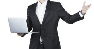 Bebouwde mening van laptop van de bedrijfsmensengreep Stock Afbeeldingen