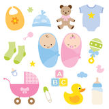 Bebês e produtos do bebê. Imagem de Stock Royalty Free