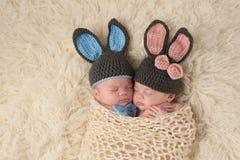 Bebés recién nacidos gemelos en Bunny Rabbit Costumes Imágenes de archivo libres de regalías