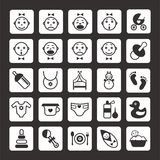 Beby icons set. Beby  black-white icons set in a minimalist style Royalty Free Stock Photos