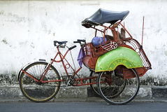 Becak cyclo taxi in yogyakarta indonesia Stock Photography