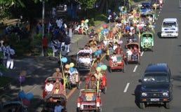 Becak, indonesian traditional trishaws Stock Photos