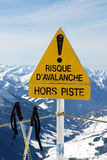 Becarrefull to avalanches. Avalanche danger warning to the attention of skiers Royalty Free Stock Photo