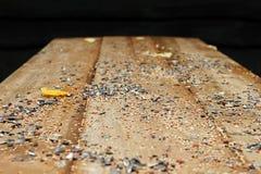 Becchime sulla tavola di legno Fotografia Stock