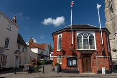 The Town Council building and the Swan House Inn and restaurant in Beccles, Suffolk, England royalty free stock photo