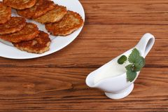 Bechamel with potato pancakes Stock Photography