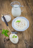 Bechamel sauce on kitchen table. With fresh ingredients Stock Photo