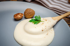 Bechamel sauce on the plate. Traditional bechamel and nutmeg on the plate closeup Stock Photography