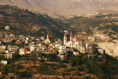 Bechare ( Bchare) village Giban Khalil Lebanon. Church in the old  Bchare / Bechare village  in Lebanon Giban Khalil village Royalty Free Stock Image