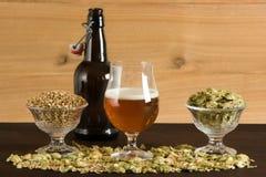Becher Bier, kleine Prüfspule, Malz und Hopfen lizenzfreie stockfotos