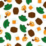 Becher Bier mit Schaumgummi Gr?ner Hut M?nnliche B?rte und Schnurrbart Getrennt auf wei?em Hintergrund Nahtloses Muster Oktoberfe vektor abbildung